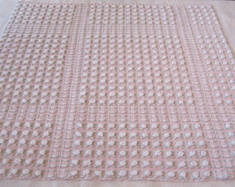 "Morgan Jones White on Pink Rosebud Vintage Chenille Bedspread Fabric 27""x 27"""