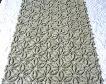 "Deep Sage Green/ Khaki Hofmann Daisy Vintage Chenille Bedspread Fabric 19"" x 24"""