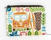 Surf Van Zipper Pouch, Retro Beach Love Bus, Small Coin Purse, Organic Cotton Fabrics