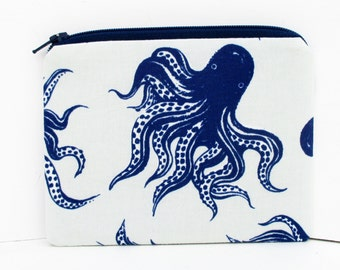 Zippered Pouch, Blue Octopus, Small Coin Purse, Cotton and Steel Fabric