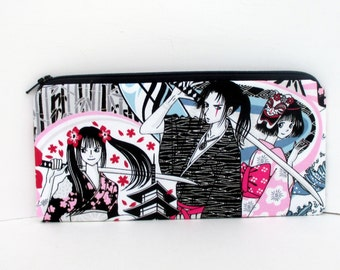 Long Zipper Pencil Pouch, Anime Blade, Japanese Tokidoki Geisha