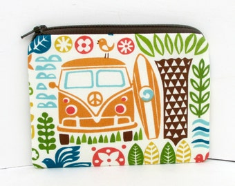 Surf Van Zipper Pouch, Retro Beach Love Bus, Small Coin Purse, Organic Cotton Fabrics