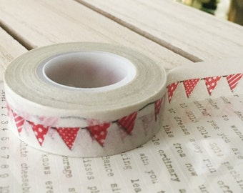 Party banner washi tape red on light gray