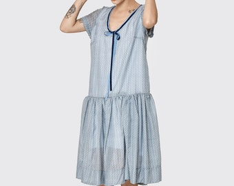 Gray floral Omega dress - short sleeve dress- frill knee length dress- loose tunic- cotton dress- loose top - sexy dress- oversize dress