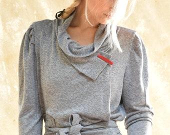 wrap jacket - wrap top - wrap sweater jacket - cardigan sweater - cozy sweater - chunky sweater - grey sweater - WrapSweatCard