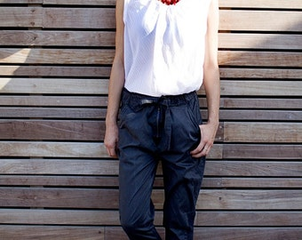 Light stone washed denim cotton baggy  black pants with tying