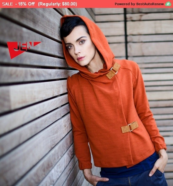 Winter Sale 15% Off!!! Terra cotta orange hood french terry sweater with camel leather claps