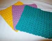 Yellow, Lilac, Parrot Green Crochet Cotton Wash Cloths / Set of 3 / Cotton Dish Cloths / Price Reduced