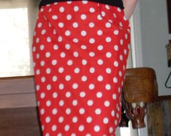 Rockabilly Red w/ White Polka -dots Pencil Skirt