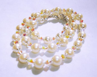 Ivory Glass Pearls With Crystal Bicones and Silver Accent Necklace