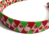 Red & Green Strawberry Woven Headband - Handmade - Grosgrain Ribbon Braided Headband - Pink Strawberry Ribbon Woven Headband - 1 inch