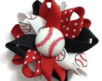 Red Black Baseball Hair Bows, Sports Hair Bows, Handmade Hair Bows, Loopy Hair Bows, No Slip Hair Bows, Hair Bow Clips, Handmade To Order