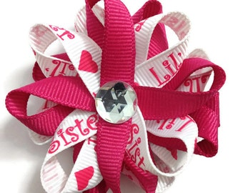Pink & White *Little Sister* Hair Bows, Sister Hair Bows, Handmade Hair Bows, No Slip Hair Bows, Hair Bow Clips, Sister Gifts, Gifts for Her