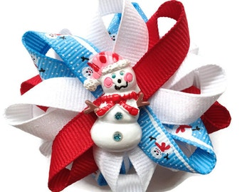 Blue, Red, White Snowman Hair Bows