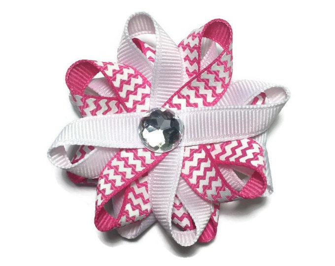 Hot Pink, White Chevron Stripe Handmade Hair Bows