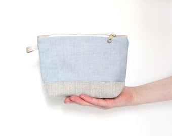 Fabric makeup pouch, blue organic fabric, toiletry case, grey