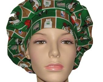 Scrub Hats - Boston Celtics Basketball Fabric