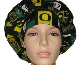 Scrub Hats - University Of Oregon Ducks Modern Block Print Fabric