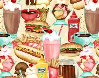 Retro Diner Fabric, 1 Yard,  Multi Stacked Food, At The Diner Fabric Line, # 33755-123, Wilmington Prints,  the Nancy Mink Collection