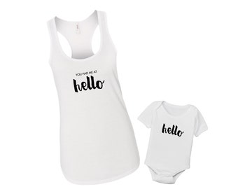 You Had Me at Hello - Matching New Mom Mommy & Me Baby Jerry Maguire Shirt Set