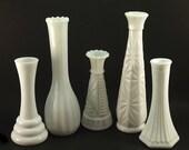Milk Glass Vase, Bud Vases, White bud vase, Wedding Decor, White Centerpieces, Flower vases, Cottage Chic, Milkglass collection, set of 5