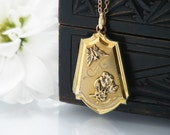 Vintage Locket | 12K Gold Filled Locket and Chain | Butterfly & Forget-Me-Not Flower | Double Photo Wedding Locket - 20 Inch Chain Included
