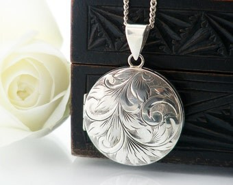English Sterling Silver Vintage Locket | 40th Birthday Gift | Large Engraved Round Locket | 1976 Hallmarks - 20 Inch Sterling Silver Chain