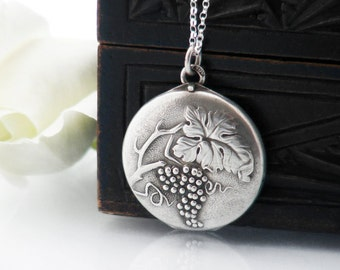 Antique Locket Necklace | European 800 Silver Locket | Jugendstil Grape Vine Design | Edwardian Silver Locket - 20 inch Sterling Chain