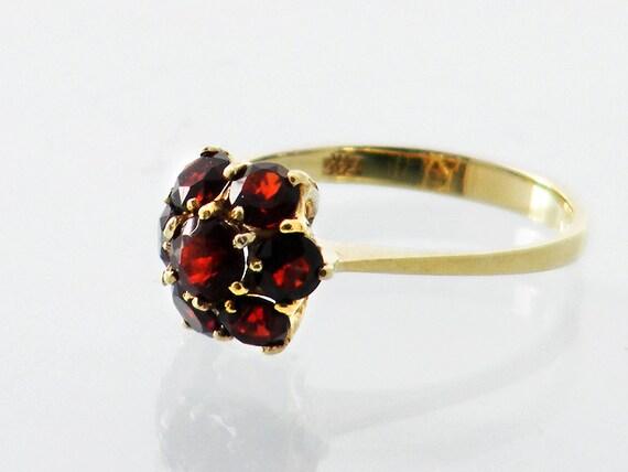 Vintage Garnet Ring | 14ct Gold Bohemian Garnet Flower Ring | Gold Dress Ring | January Birthstone - US Ring Size 6 1/4, UK Ring Size M 1/2