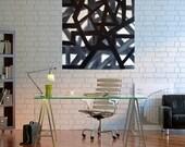 Original Geometric Painting, Abstract Painting, MADE TO ORDER, 24x 30x1.5, Black, White, Grey, Loft Art, Contemporary Art, Len Dickson