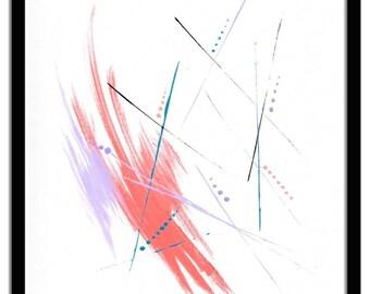 Original Minimalist Abstract Painting Modern Contemporary Canvas Board Acrylics Ink  8 x 10 Len Dickson