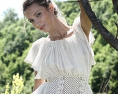 SALE! Romantic cotton top, Hand knitted cotton tank top, cottage chic cotton top, bohemian summer top, Ivory summer blouse, Cream summer top