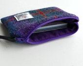HARRIS TWEED change coin purse in purple, blue and gray tartan , small purse , Scottish tweed