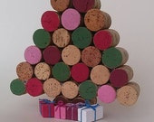 Cork Christmas Tree - colorful-  table decor - Winter- natural cork
