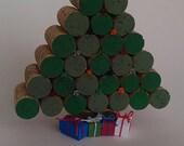 Cork Christmas Tree -bright plastic bulbs- table decor - Winter- natural cork