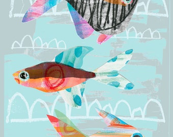 A4 Art Print- Kids Wall Art- Bathroom Picture. Swimming with the Ugly Fish