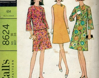 1960's McCall's Sewing Pattern No. 8624 - A-Line Dress , Sleeveless or Bell Sleeves and A-Line Two Piece with Bell Sleeves  Bust 36