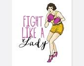 Fight Like a Lady Warrior/Cancer Card