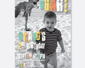 Dinosaur Running Birthday Invitation, Funny Dinosaur Invitation