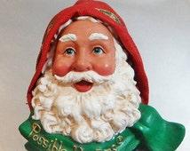 FALL SALE Vintage Possible Dreams Santa Brooch. Red. Green. White. Christmas Pin. Holiday Brooch.