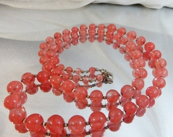 FALL SALE Vintage Pink Art Glass Necklace. Rose Quartz. Silver Beads. 30 inches.