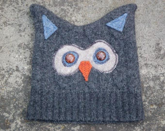Felted Wool Owl Hat
