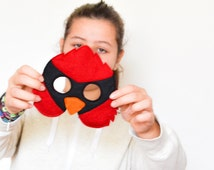 Red Cardinal Mask for Kids. Felt Angry Bird Mask, Dress up Costume Accessory, Boys, Girls, Toddlers Pretend Play