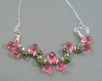 Pink and Green Teardrop Necklace, Pink Quartz and Natural Peridot Brios with  Sterling Silver, Jewelry Necklace