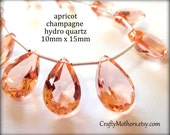 APRICOT CHAMPAGNE Quartz Faceted Pear Cut Stone Briolettes Trio, (1) Matched Pair & (1) Focal, hydro quartz, earrings, bridal jewelry