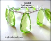 TAKE10 for 10% off! AAA Peridot Green Quartz Faceted Pyramid Briolettes, (1) Matched Pair, 9mm x 16mm, grass green