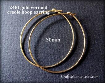 5 Pairs Bali 24kt Gold Vermeil Creole Hoop Earrings, 30mm Diameter, 20 gauge wire, 10 pieces, artisan-made supplies, ear wires
