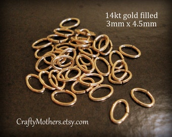 Use TAKE10 for 10% off! Set of 10, X-SMALL Oval 14kt Gold Filled Open Jump Rings, 3mm x 4.5mm, 21 gauge