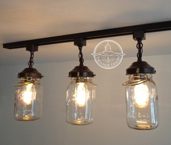 Mason Jar Track Lighting With Vintage Quarts