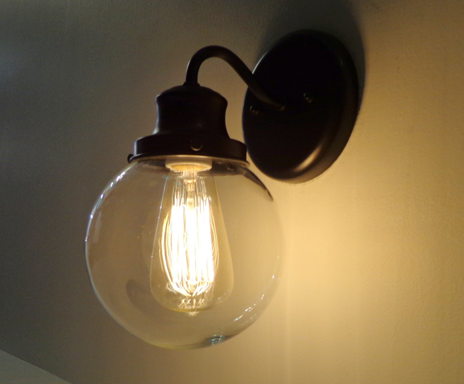 Biddeford ii glass wall light with edison bulb sconce flush for Edison bathroom light fixtures